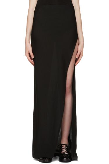 Ann Demeulemeester - Black Wool Slit Skirt
