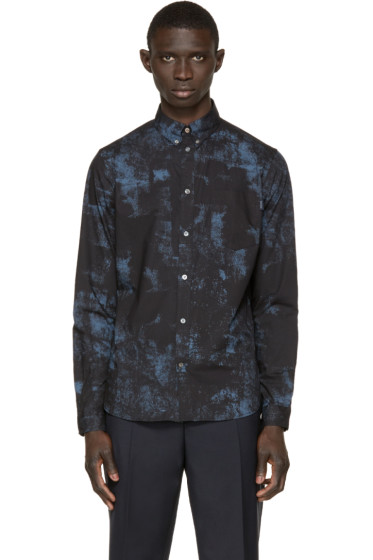 Paul Smith Jeans - Black & Blue Poplin Printed Shirt