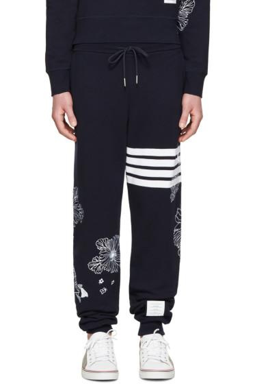Thom Browne - Navy Koi & Chrysanthemum Lounge Pants