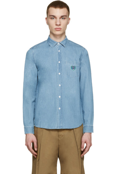 Kenzo - Blue Denim Embroidered Tiger Shirt