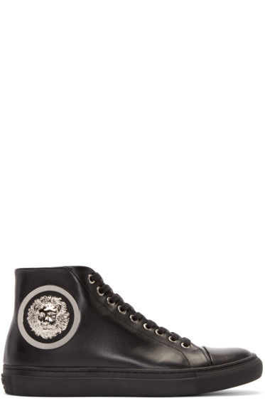 Versus - Black Leather Lion Head High-Top Sneakers