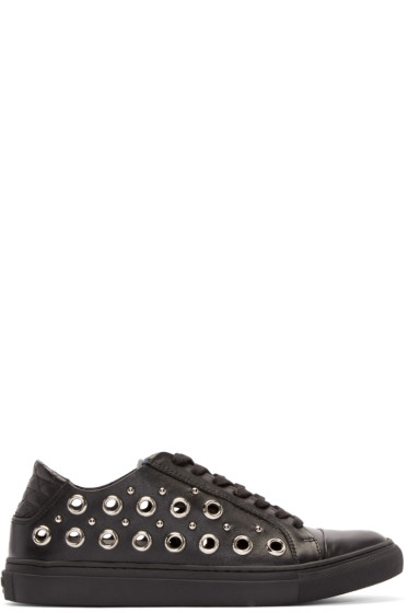 Versus - Black Leather Eyelet Low-Top Sneakers