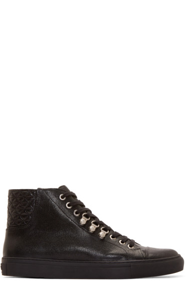 Versus - Black Quilted Leather Anthony Vaccarello Edition Sneakers