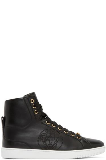 Versace - Black Perforated Medusa High-Top Sneakers