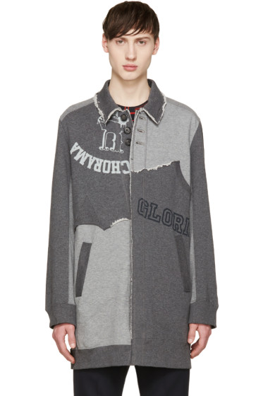 Undercover - Grey Jersey Patchwork Coat