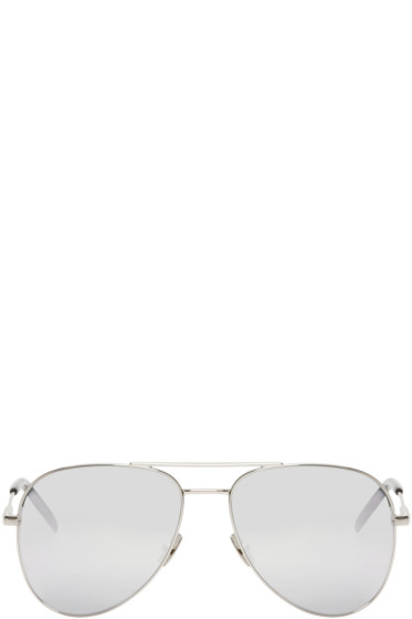 Saint Laurent - Silver Classic 11 Aviator Sunglasses
