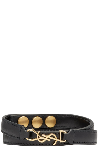 Saint Laurent - Black Leather Monogram Bracelet