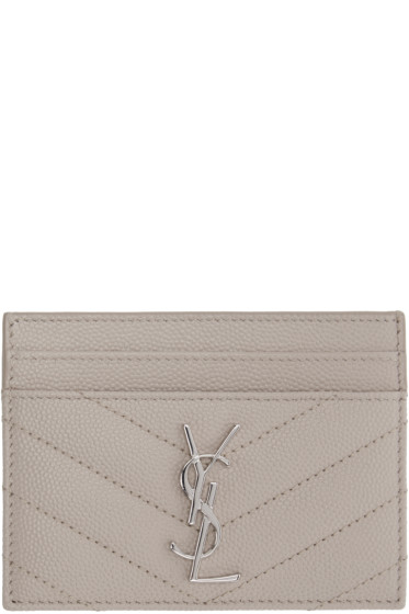 Saint Laurent - Beige Quilted Monogram Card Holder