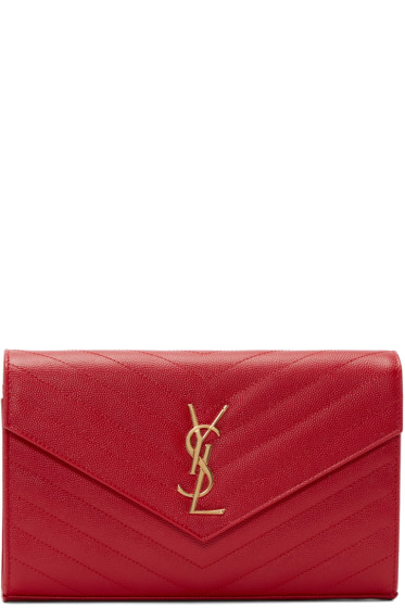 Saint Laurent - Red Quilted Monogram Envelope Clutch