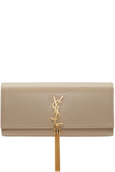 Saint Laurent - Beige Tassel Monogram Clutch