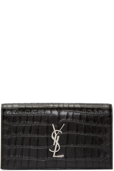 Saint Laurent - Black Croc-Embossed Monogram Clutch