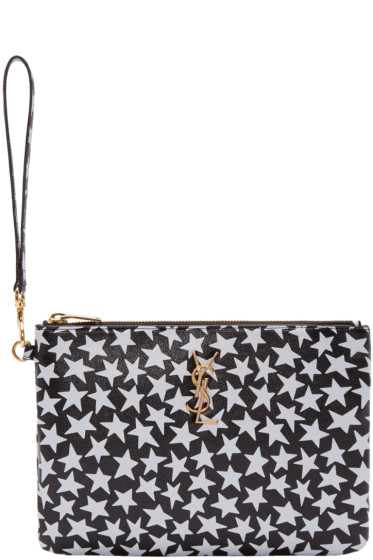 Saint Laurent - Black & White Stars Zip Pouch
