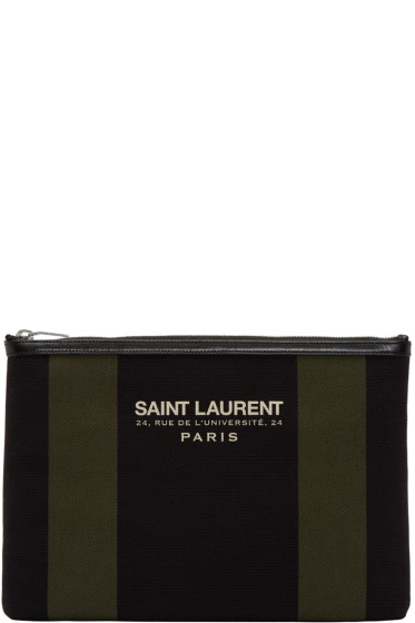 Saint Laurent - Black & Khaki Striped Beach Pouch