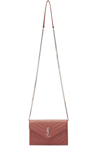Saint Laurent - Pink Monogram Chain Wallet