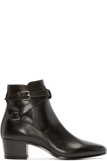 Saint Laurent - Black Leather Jodhpur Ankle Boots