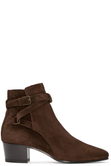 Saint Laurent - Brown Suede Jodhpur Boots