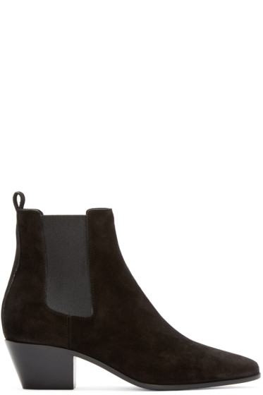 Saint Laurent - Black Suede Wyatt Rock Boots