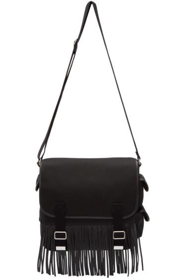Saint Laurent - Black Canvas Fringed Army Messenger Bag