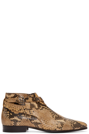 Saint Laurent - Tan Snake-Embossed London Boots