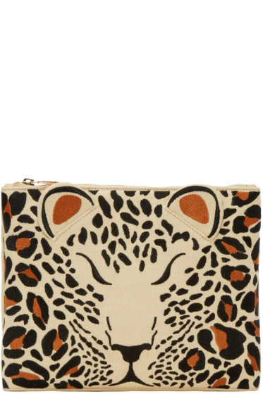 Charlotte Olympia - Beige Embroidered Feral Pouch