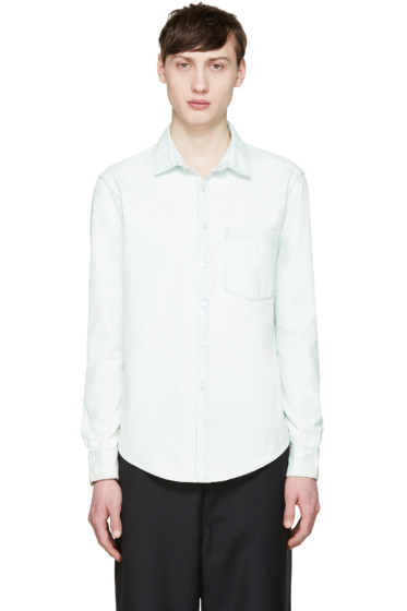 MSGM - Blue Denim Logo Shirt