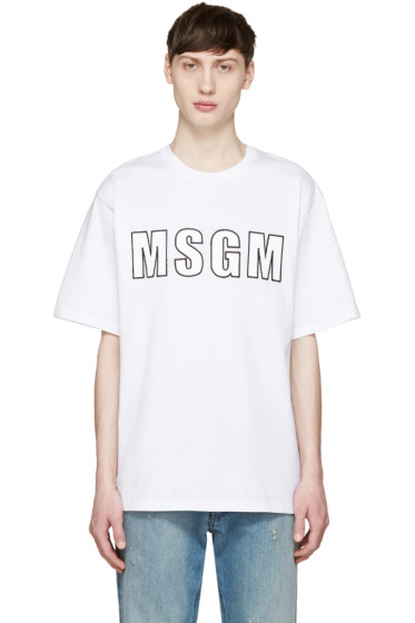 MSGM - White Logo Appliqué T-Shirt