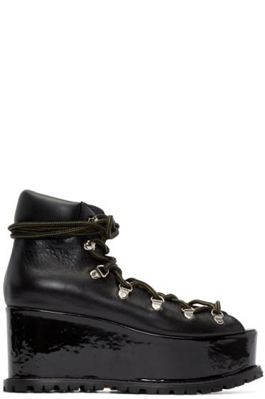 Sacai - Black Leather Platform Boots