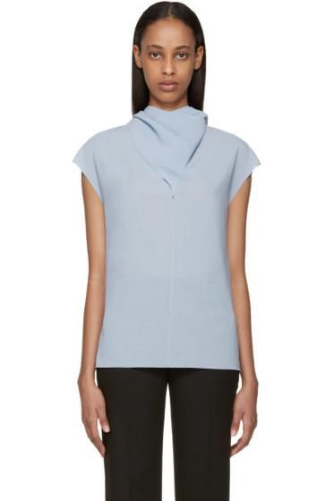 Nina Ricci - Blue Wool Tie Neck Blouse