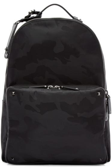 Valentino - Black Jacquard Camouflage Backpack