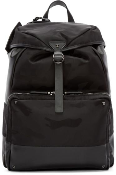 Valentino - Black Nylon & Leather Camo Backpack