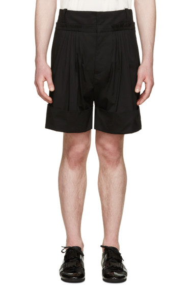 J.W.Anderson - Black Pleated Wide-Leg Shorts