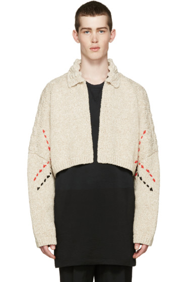 J.W.Anderson - Beige Embroidered Cropped Cardigan