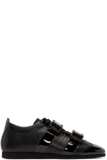 J.W.Anderson - Black Leather Buckle Sneakers