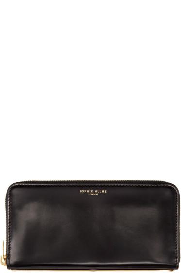 Sophie Hulme - Black Leather Long Gold Spine Wallet