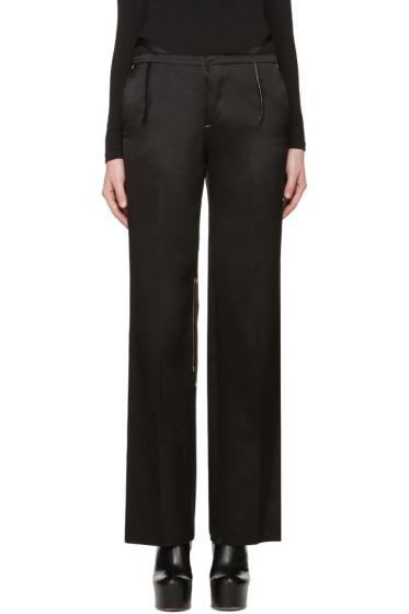Calvin Klein Collection - Black Satin Topstitched Gilgo Trousers