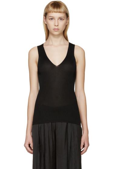 Calvin Klein Collection - Black Deep-V Amalia Tank Top