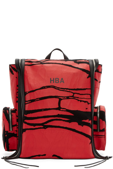 Hood by Air - Black & Red Canvas Peel Deni Backpack