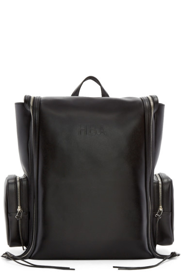 Hood by Air - Black Leather Deb Zip Backpack