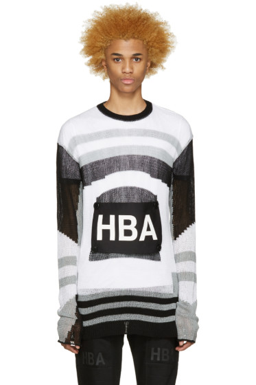 Hood by Air - Tricolor Striped Moma Patch Sweater