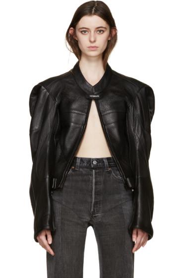Vetements - Black Leather Moto Jacket