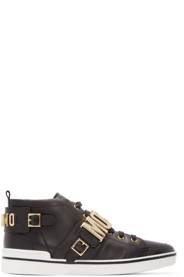 Moschino - Black Leather Logo Mid-Top Sneakers