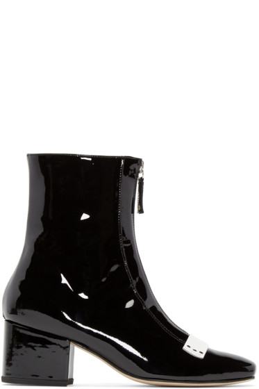 Dorateymur - Black Patent Leather Double Delta Boots