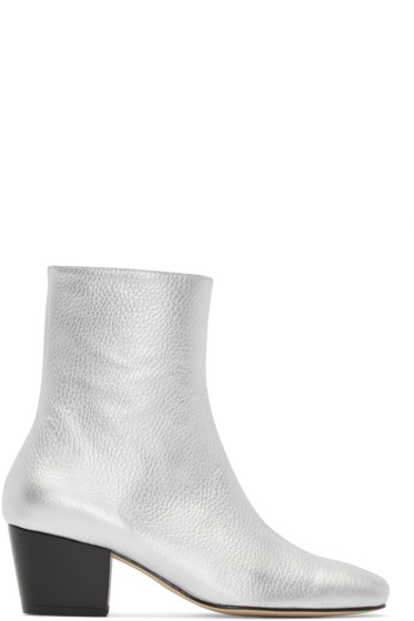 Dorateymur - Silver Leather Droop Nose Boots