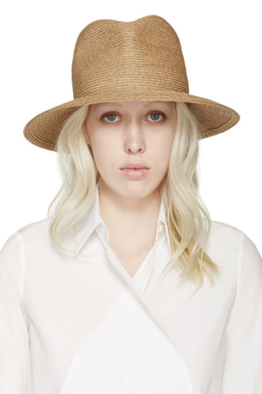 Albertus Swanepoel - SSENSE Exclusive Tan Fedora Arabel Hat