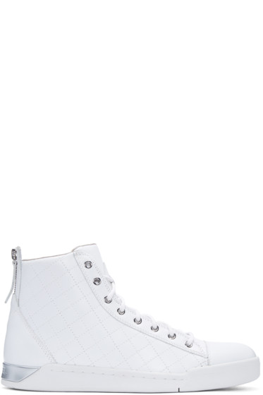 Diesel - White Quilted Diamond High-Top Sneakers