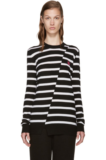 McQ Alexander Mcqueen - Black & White Distort Striped Sweater