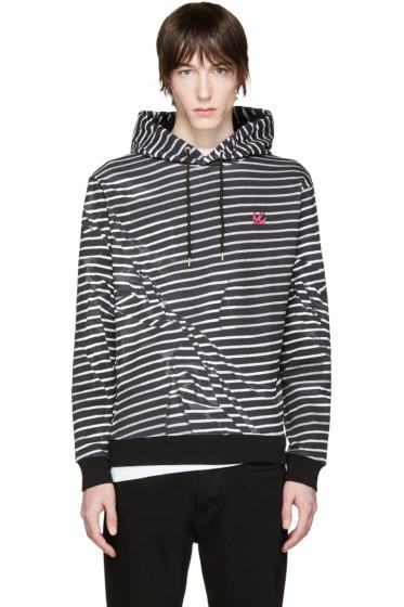 McQ Alexander Mcqueen - Black & White Striped Clean Hoodie