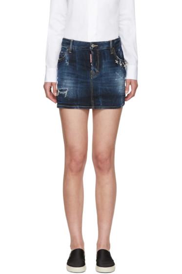 Dsquared2 - Blue Denim Barbell Ring Skirt