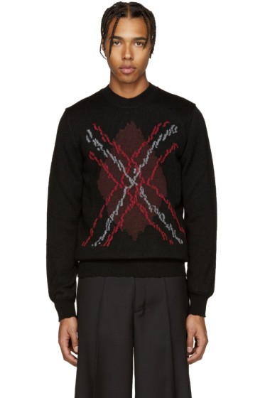 Maison Margiela - Black & Red Argyle Sweater