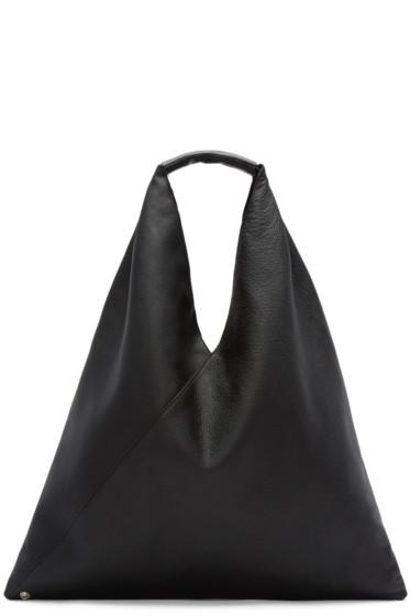 MM6 Maison Margiela - Black Leather Shopper Tote